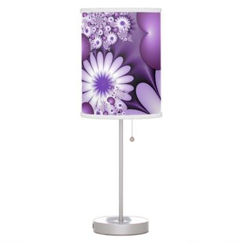 Falling in Love Abstract Flowers & Hearts Fractal Table Lamp