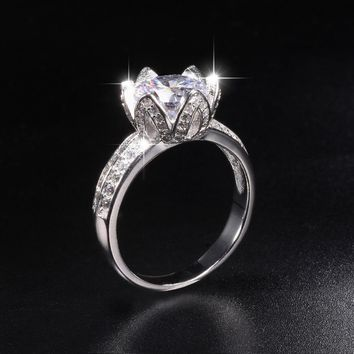 Promotion!!! 8$ Real Solid 100% 925 Silver Lotus flower Rings Wedding Jewelry for Women 2ct Simulated Diamond Engagement Ring