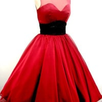 A 50s ruby red chiffon rock ability Cocktail dress by elegance50s