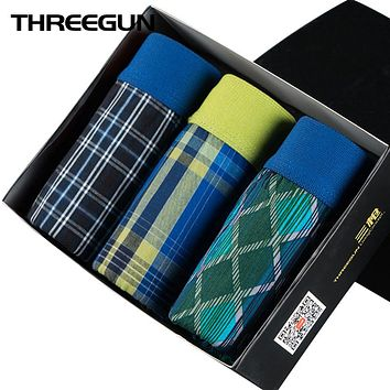 Men Underwear Boxers Loose Shorts Plaid Boxers with Elastic Waistband Arrow Pants