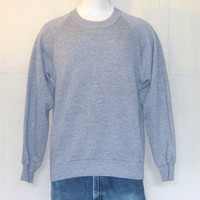 Vintage 80s BLANK RAYON Heather Grey Plain Medium Sweater Jumper Tri Blend Crewneck SWEATSHIRT