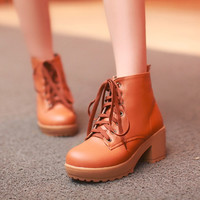 Women Ankle Boots Lace Up High Heels Platform Shoes Woman 2016 3582