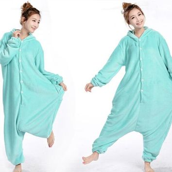 Anime Animal Circus Blue Elephant Polar Coral Fleece Winter Warm Cosplay Pajamas Adult Unisex Onesuit Party Costumes Plus Size