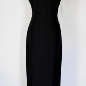 90s Black Velvet Column Dress