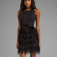 Milly Cocktail Feather Dress in Black
