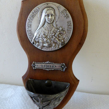 Vintage French Benitier Holy Water Font St Therese of Lisieux