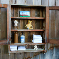 Reclaimed Wood - Chicken Coop - Salvaged - Doors - Rustic Wall Shelves - Bath Storage - Kitchen - Spice Cabinet - Dorm Room - Home Decor