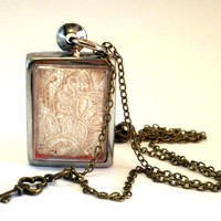 Lace Necklace White Cream Floral Pendant Vintage Style Brass Necklace