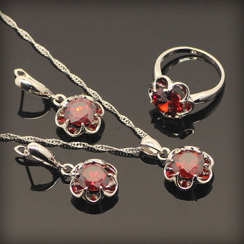 Elegant Red Ruby Jewelry Sets For Women Sterling Silver Flower Earrings Necklace Pendant Rings Free Jewelry Box