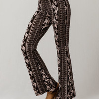 SKY AND SPARROW Neutral Floral Print Womens Flared Pants