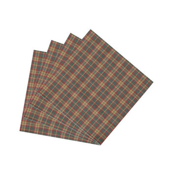Green And Muddy Red Plaid Fabric Napkin Set of 4