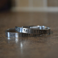 "Matching ""You're The Stiles To My Derek"" ""You're The Derek To My Stiles"" ""Teen Wolf"" Inspired Handstamped Aluminum Cuff Bracelets"