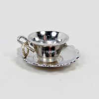 WELLS STERLING Tea Cup Charm, Silver Teacup and Saucer, Sterling Silver, Vintage Charm for Charm Bracelet, 1950s Jewelry, Vintage Jewelry