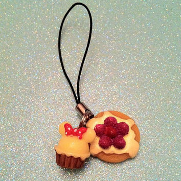 Minnie Cupcake x Strawberry Pancake Phone Charm by JMxSweets