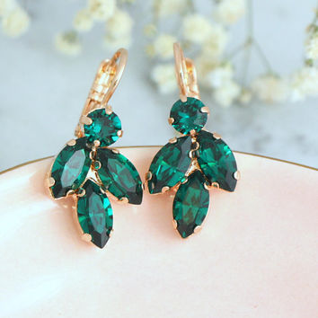 Emerald Drop Earrings, Bridal Emerald Green Earrings, Green Crystal Earrings, Bridesmaids Earrings, Swarovski Emerald Earrings, Gift For Her