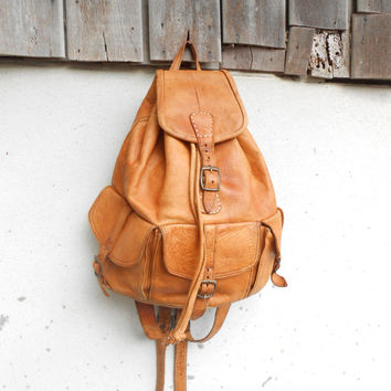 Vintage Leather Bag Distressed Leather Backpack Leather Rucksack Sling Backpack Crossbody Backpack / Handmade / Medium
