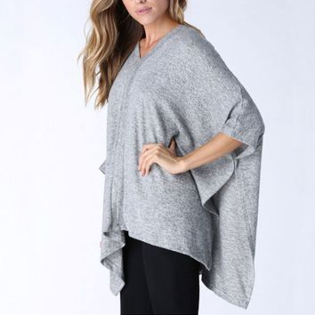 V Neck Loose Batwing Sleeve Shirt