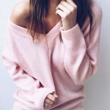 LITTHING Autumn Knitted Sweater Women V Neck Fashion Solid Long Sleeve Casual Pullover Sweaters Sexy Female Women Pullover