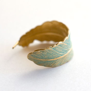 verdigris green Feather Adjustable Ring feather ring woodland wedding fall jewelry wrap ring