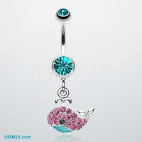 Adorable Whale Multi-Gem Belly Button Ring