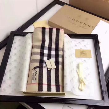 Best Online Sale Burberry Keep Warm Scarf Embroidery Scarves Winter Wool Shawl Lattice Style 1