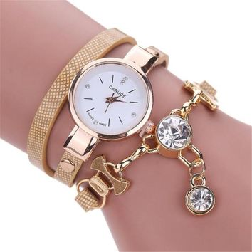 Women Famous Brand Watches Fashion Women's Ladies Leather Rhinestone Analog Quartz Dress