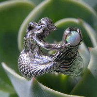 Silver Mermaid Ring with Opal