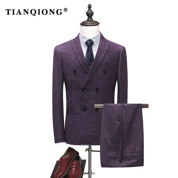 TIAN QIONG 2018 Mens Double Breasted Suit Slim Fit Plaid Suits for Men Red Blue Black Men's Wedding Groom Suits Prom Wear QT1801