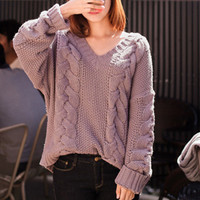 New winter solid color loose retro twist thick hedging long-sleeved V-neck sweater female loose