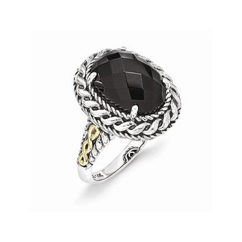 Sterling Silver w/14k Gold Antiqued Onyx Ring