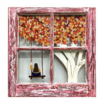 Tree of Hearts - Vintage Painted Window Wall Decor 20-3/4