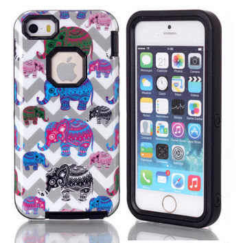 Cute Elephant Animals 3 in 1 Hybrid Phone Cases Cover for iPhone 5C Lovely Case for iPhone 5C