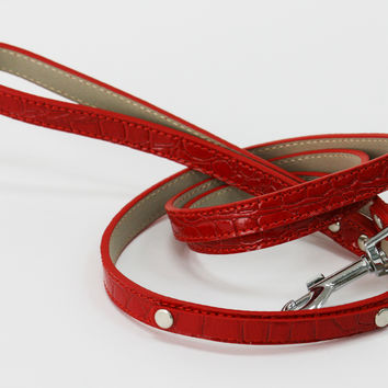 Red Leash, Red Pet accessory,Red Leather leash, Dog Lovers, Dog Leash, Dog Lovers