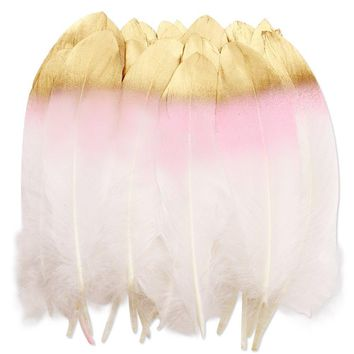 36PCS Pink and Gold Dipped Natural White Feathers