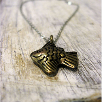 Sampson the Antiqued Fish Necklace by sodalex on Etsy