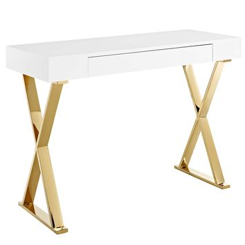 Sector Contemporary Modern Console Table High Gloss White / Gold