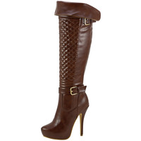 Womens Knee High Boots Quilted Front Buckle Accent Sexy High Heels Brown SZ