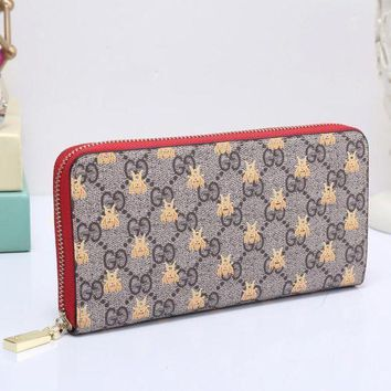 DCCK GUCCI Bee Women Fashion Embroidery Leather Buckle Wallet Purse Clutch Bag4