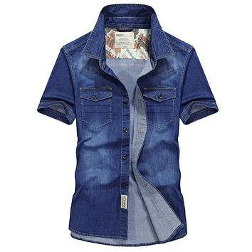 2019 New Arrival Clothing Summer Short Sleeve Casual Cotton Men Shirts Denim Shirts Plus Size S-4XL