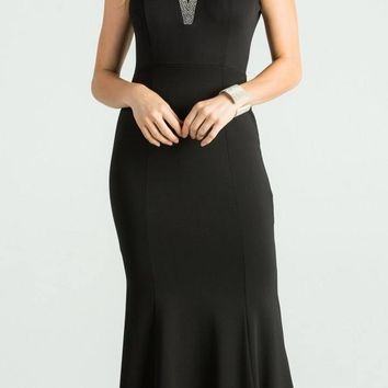 Black Fit and Flare Long Formal Dress Embellished Neckline