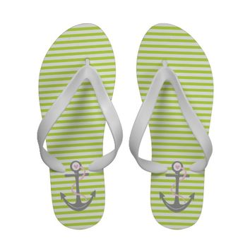 Anchor and stripes green, grey, pink flip flops from Zazzle.com