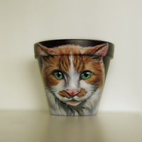 Cat Flower Pot, cat art, cat pop art, pet painting, custom pet portrait, acrylic on a 6 inch flower pot