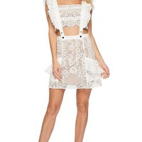 Pam White Two-Piece Lace Mini Dress