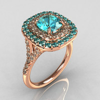 Tiffany Soleste Style 18K Rose Gold 1.25 Carat Cushion Aquamarine Bead-Set Diamond Engagement Ring R116-18RGDAQQ