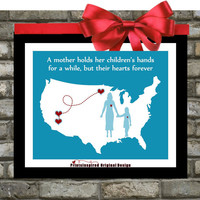 Mother's day gift mom birthday distance map with hearts quotes wall art home decor print