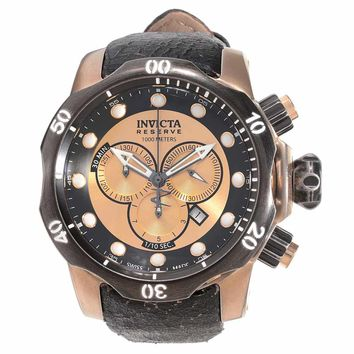 Invicta 15987 Men's Venom Swiss Chronograph Rose Tone Dial Black Leather Strap Dive Watch