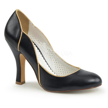 Pin Up Couture Black Smitten Wavy Retro Pumps