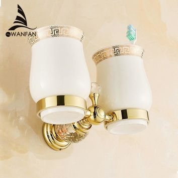 Cup & Tumbler Holders Crystal Brass Ceramic Cup Bathroom Accessories Gold Double Tumbler Holders Toothbrush Cup Holders HK-32