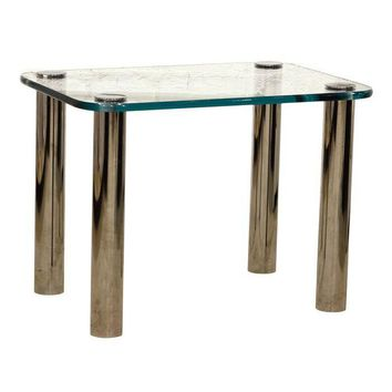 Pre-owned Glass Topped Pace End Table