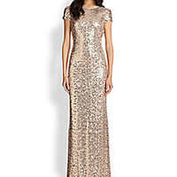 Badgley Mischka - Sequin Cowl-Back Gown - Saks Fifth Avenue Mobile